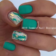 Trendy nails design green and gold nailart 25 ideas Nail art is a creative way to paint, deco Cute Summer Nail Designs, Nail Design Spring, Cute Summer Nails, Spring Nails, Cute Nails, Nail Summer, Summer Nail Colors, Summer Toenails, Summer Nails 2018
