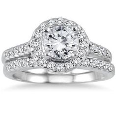 1 1/2ct Round Brilliant cut halo Solitaire Engagement ring 14K solid White Gold #Jewelsbyeanda