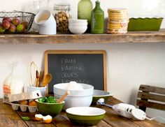 Give your home a farmhouse facelift by adding charm with easy updates and decor. Display painted pitchers and rustic roosters for a country chic feel, and layer on a mix of weathered woods and industrial metallic.  Choose pieces that do double duty, like kitchen carts that add storage and increase counter space.