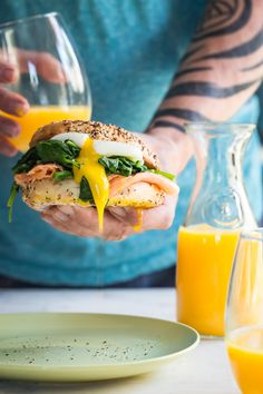 I think this Eggs Florentine Bagel is calling your name for Easter brunch! It's stuffed with wilted baby kale and spinach, smoked salmon and a poached egg.