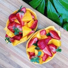 Fun way to eat papaya & strawberries!
