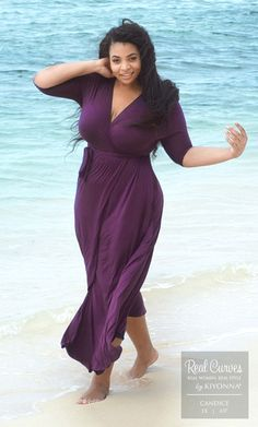 """Candice (6'0"""" and a size 1x) looks incredible at the beach in our plus size Wrapped in Romance Dress.   www.kiyonna.com"""