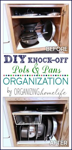 Need to get your pots and pans a bit more organized? Then check out our new collection of Kitchen Pot Organization Ideas! Pot Organization, Kitchen Cabinet Organization, Organizing Ideas, Organising, Pot Storage, Diy Kitchen Storage, Organised Kitchen Diy, Bathroom Storage, Cool Diy