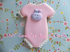Pink Onesie with a cute Hippo face,see more pictures… Baby Girl Cookies, Onesie Cookies, Baby Shower Cookies, Cute Cookies, Cupcake Cookies, Sugar Cookies, Cupcakes, Baby Shower Host, Baby Shower Favors