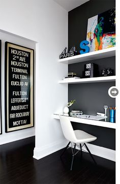 Love the black lacquered floors w/ white walls and bold color accents