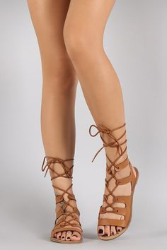 85a53e439b2bca Qupid Strappy Lace Up Open Toe Gladiator Flat Sandal