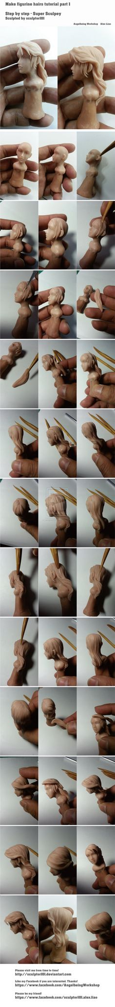 Making figurine hairs tutorial part 1 by sculptor101.deviantart.com