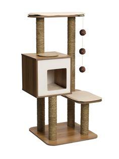 Cat Tree - Vesper Scratching Post with Condo - Walnut Furniture Wooden Cat Tree, Diy Cat Tree, Cat Tree Condo, Wood Cat, Cat Condo, Wooden Diy, Vesper Cat Furniture, Modern Cat Furniture, Tree Furniture
