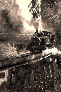 Steam, train, bridge, smoke, photograph, photo