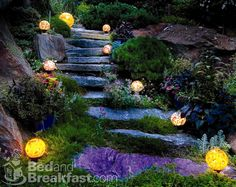 Bed And Breakfast   Property Photos The original curb stones from our town center of Media form the steps down through the outrageous rock garden into the tropical gardens in the backyard. Lighting from local artist Thomas Rupnicki of LaSorgente Glass grace the landscapes throughout the property.,Alpenhof Bed and Breakfast638164