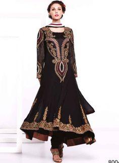Black Faux Georgette Embroidery Work Anarkali Suit