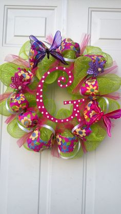 """G"" Deco Mesh Lime Green Wreath by Tonia"