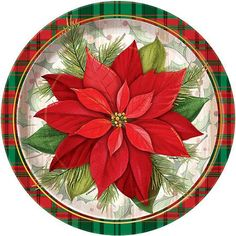 """9"""" Poinsettia Plaid Holiday Dinner Plates, 8-Count"""