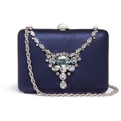 Rodo Jewelled necklace glitter satin clutch bag