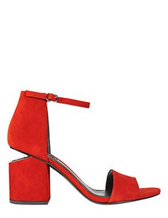 b94d3dbc1ba Alexander Wang Abby Cut Out Stack Heel Suede Sandal  An open toe suede  sandal with a 2 stacked heel and cut out rhodium metal plate at back of heel .