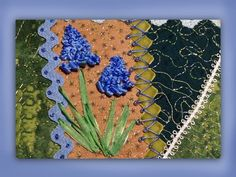 I ❤ ribbon embroidery . . . How to embroider silk ribbon grape hyacinth flower. www.craftyattic.com shows you how to embroider this beautiful grape hyacinth flower head, stalk & leaves