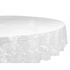 Lace Victorian 63 Inch Polyester Round Tablecloth (Lace Victorian Tablecloth),  White