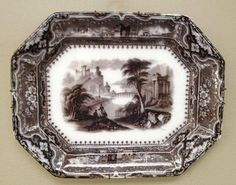"""Large 19th century English Mulberry Transfer Ware Platter """"Vincennes""""2"""