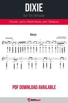 Free tin whistle sheet music for Dixie with chord symbols, lyrics, and tablature. Harmonica Lessons, Guitar Chords For Songs, Tin Whistle, Flute Sheet Music, Sheet Music Notes, Native American Flute, Partitions, Mandolin, Kids Songs