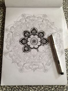 Forgiven progress by M Mandala art copic fineliner zentangle design Mandala Doodle, Mandala Drawing, Mandala Tattoo, Doodle Art, Mandala Artwork, Mandala Painting, Mandala Origami, Zentangle Patterns, Zentangles
