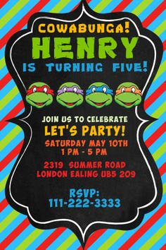 new in the shop: teenage mutant ninja turtles party! | party, Party invitations