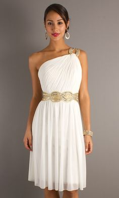 Pretty one shoulder dress with belted waist.