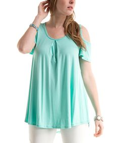 Take a look at this Mint Lace-Back Cold Shoulder Top today!