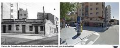 Carrer del Treball con Rosalia de Castro (antes Torrente Gornal) y en la actualidad