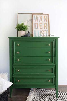 This green painted dresser is soooo much fun! A little bit of paint goes a long way in updating and transforming any piece of furniture, and this modern dresser is no exception! Here is how to easily DIY paint your furniture in a green modern finish. Furniture Scratches, Furniture Repair, Furniture Makeover, Diy Furniture, Dresser Makeovers, Repurposed Furniture, Furniture Stores, Furniture Design, Dresser Furniture