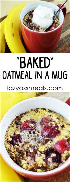 "A super easy ""baked"" oatmeal in a mug! Fantastic if you want a cooked oatmeal for breakfast super fast."