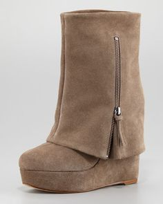 Yeardley Fold-Over Wedge Bootie by Alice + Olivia at Neiman Marcus.