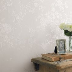 Spring Blossom White Shimmer Wallpaper by Graham and Brown