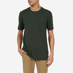 The classic pocket T-shirt. The fabric is a lightweight yet durable cotton that gets softer over time.