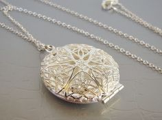 SALE Silver Filigree Locket Necklace by VeraidaGifts on Etsy, $18.00