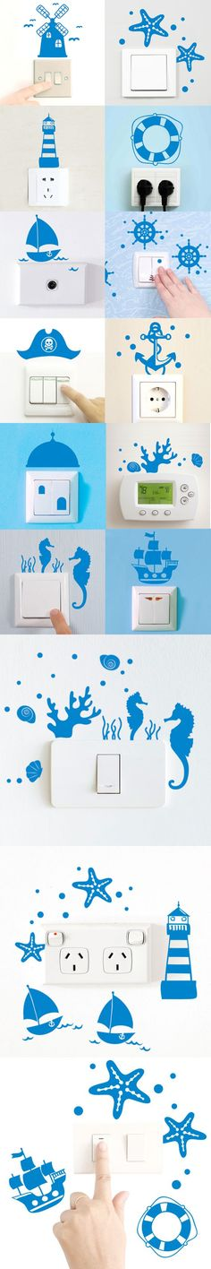 Nautical Decor Switch Panel Sticker Blue Starfish Small Wall Sticker For Living Room Kids Room Wall Art Decals Home Decor $3.05