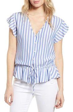 Women's Rails Ruffle Shirt, Size X-Small - Blue Casual Tops For Women, Blouses For Women, Blouse Styles, Blouse Designs, Shirt Blouses, Shirts, Ruffle Shirt, Girly Outfits, Ladies Dress Design
