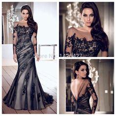 Free Shipping 2014 Long Evening dress Scoop long sleeve see-through Lace evening dress vestido de festa Mermaid Evening Dresses