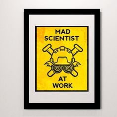 Mad Scientist at Work print- do not disturb sign- science wall decor- laboratory sign- caution sign- keep out sign- evil genius Science Expirements, Science Fiction, Keep Out Signs, Mad Scientist Party, Evil Geniuses, Retro Futuristic, Wall Prints, Nerdy, Wall Decor