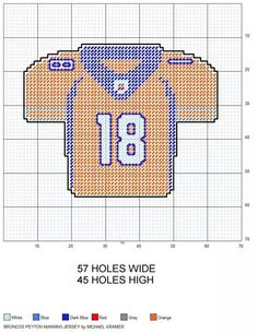 Denver Broncos Peyton Manning NFL Football Jersey plastic canvas pattern by Michael Kramer, could change colors and number for other teams Crochet Scarf Easy, Crochet Poncho, Irish Crochet, Plastic Canvas Crafts, Plastic Canvas Patterns, Plastic Craft, Denver Broncos, Crochet Baby Jacket, Sport Craft