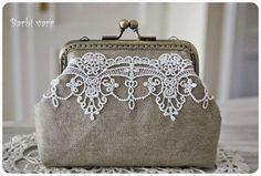 vintage purse, hand made Винтажный кошелек, белое кружево, ручная работа.