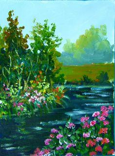 Flowers by the river: Novice art lesson Ginger Cook live #gingercook  #art