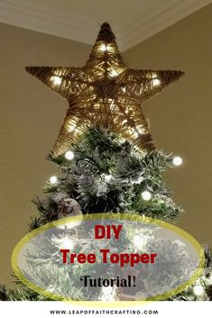DIY Tree Topper from Dollar Tree Items! - Leap of Faith Crafting How to make a tree topper out of dollar store supplies! Easy rustic DIY Christmas decor on a budget Star Tree Topper, Rustic Tree Topper, Xmas Tree Toppers, Diy Tree Topper, Christmas Tree Star Topper, Diy Christmas Star, Dollar Tree Christmas, Rustic Christmas, Christmas Crafts