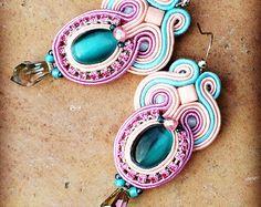 Seychelles fancy soutache earrings in cream and by AtelierMagia