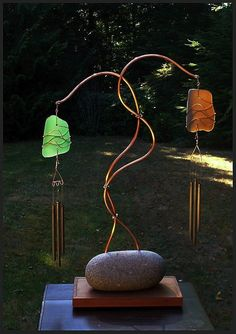 Wind Chime, Freestanding, Sea Glass, Stained Glass, Beach Glass, Stone, Cedar, Copper, Windchimes, Windchime, Wind Chimes. $195.00, via Etsy.
