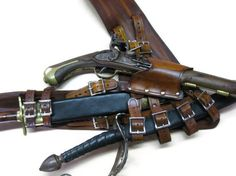 3 Inch Woodgrain  Brown Leather Pirate Pistol and Sword Baldric with Dagger Frog