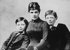 Winston Churchill  (right) with his mother and his brother, Jack
