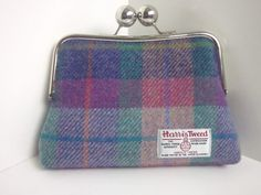 Pink and Green Check Harris Tweed Clutch Bag (Large Bobble)