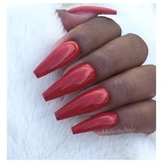 Red Coffin Nails by MargaritasNailz from Nail Art Gallery Toe Designs, Best Nail Art Designs, Simple Nail Designs, Oval Nails, Red Nails, Polish Nails, Acrylic Nail Art, Gel Nail Art, Popular Nail Art