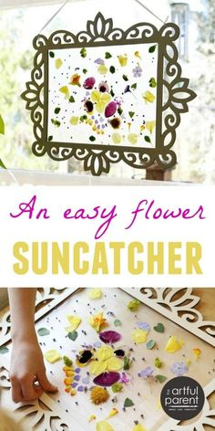 How to Make an Easy Flower Suncatcher in a Wood Frame - Fun Nature Art Activity for Kids