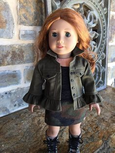 18 inch doll clothes and shoes made to fit dolls like the American girl doll-Army green jacket-Camo skirt-black puckered top- camo skirt